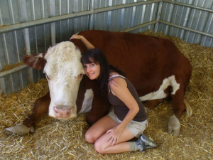 jackie with cow