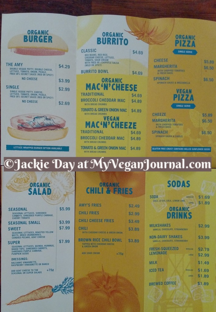 amy's drive thru menu